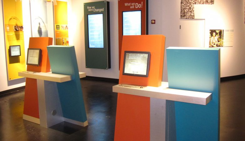 Exhibition stands set up with interactive kiosks